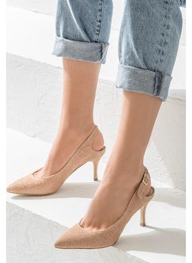 Elle İnce Topuklu Ayakkabı Somon